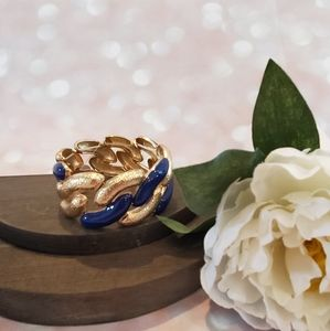 NWT Boutique Stretch Navy & Gold Chain Bracelet